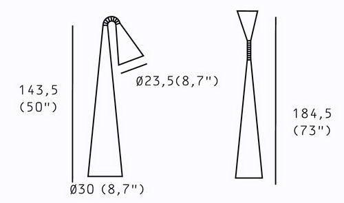 Чертеж и размеры светильника Camp floor (Marset)
