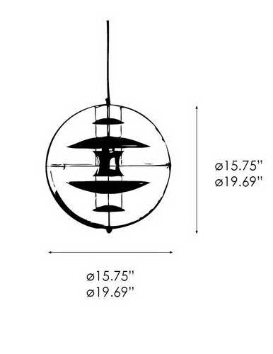Чертеж и размеры светильника VP Globe (VerPan)