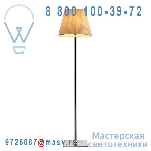 F6305007 Lampadaire Chrome & Plisse Ivoire - KTRIBE F2 FLOS
