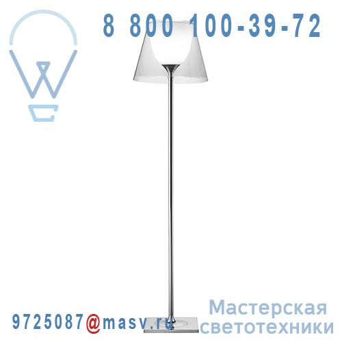 F6305000 2 COLIS (F6277057 + F627800) Lampadaire Chrome & Transparent - KTRIBE F2 FLOS