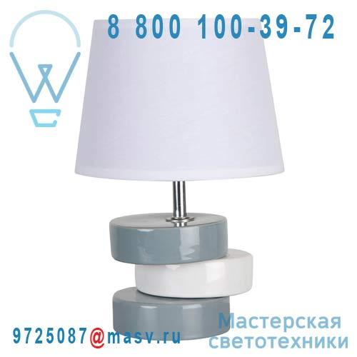 91089 BLANC Lampe a poser Blanc/Gris - LYDIE Corep