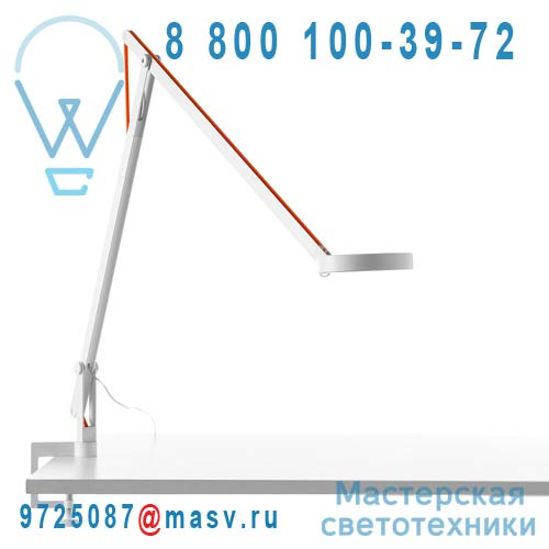 1SRT2 001 63 + KPA16002 Lampe de Bureau a etau Blanc Cable Orange - STRING Rotaliana
