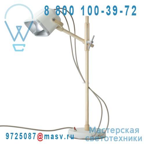 MOB - 11WOOD Lampe a poser Blanc/Bois fil beige - MOB Swabdesign