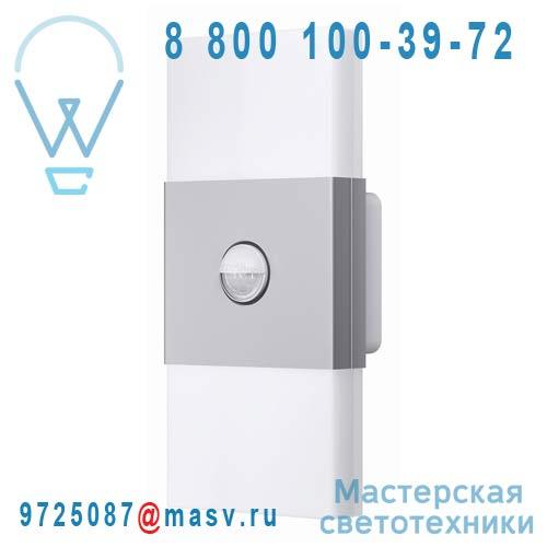 4008321998422 Applique Double Rectangle avec Detecteur Argent - NOXLITE LED WALL Osram