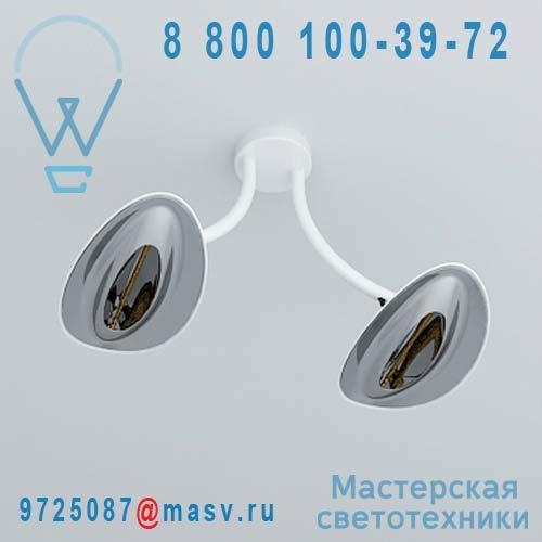 "HBA2102030015 Plafonnier double d""exterieur chauffant Blanc/Chrome - HOTDOOR Plumen"