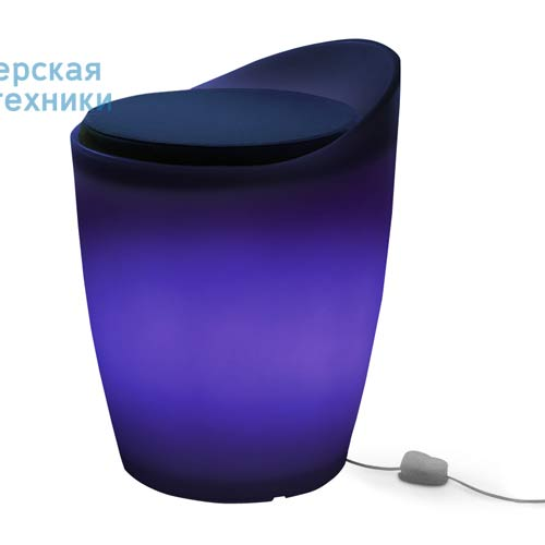 174506+1780643 Tabouret Indoor Bleu + Coussin Bleu/Rose - OTTO Authentics