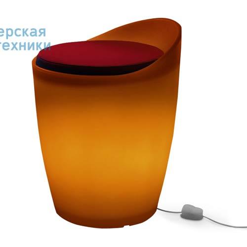174516+1780216 Tabouret indoor Orange + Coussin Rouge/Orange - OTTO Authentics