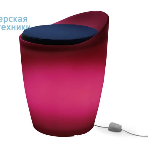 174543+1780643 Tabouret Indoor Rose + Coussin Bleu/Rose - OTTO Authentics
