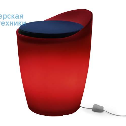 174502+1780643 Tabouret indoor Rouge + Coussin Bleu/Rose - OTTO Authentics