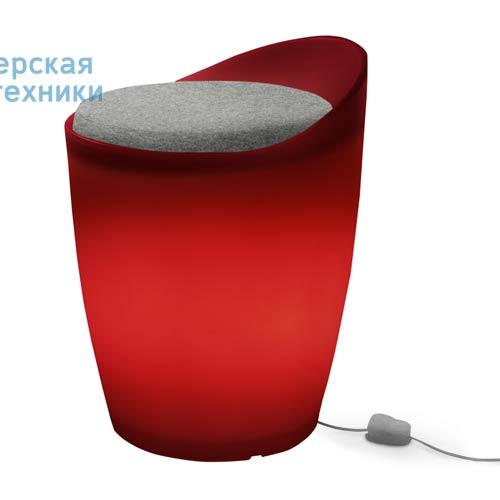 174502+1780461 Tabouret indoor Rouge + Coussin Gris/Noir - OTTO Authentics