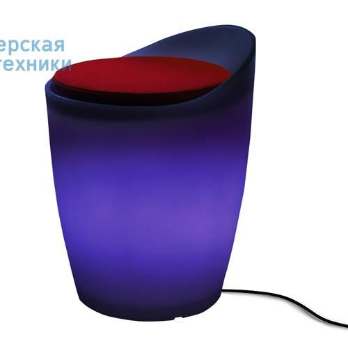 174606+1780216 Tabouret Outdoor Bleu + Coussin Rouge/Orange - OTTO Authentics