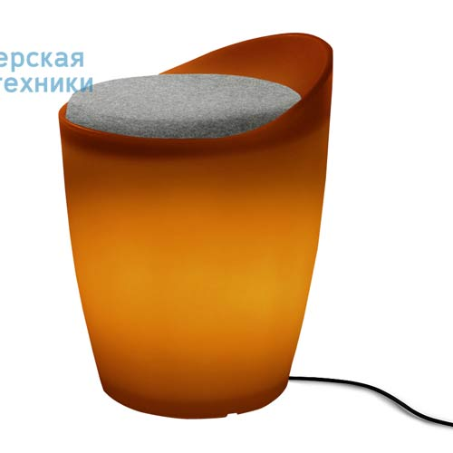 174616+1780461 Tabouret Outdoor Orange + Coussin Gris/Noir - OTTO Authentics
