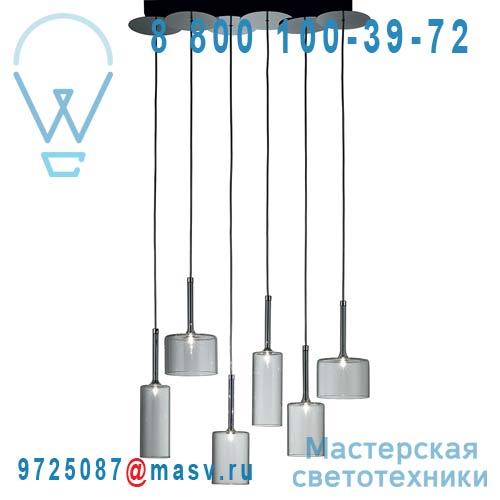 SPSPILL6CSCR12V Suspension droite 6 Lumieres Transparent - SPILLRAY AXO Light