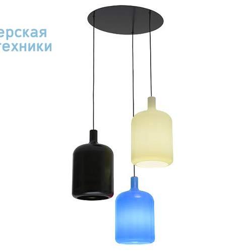 Suspension 3 Bulb Noir/Blanc/Bleu fil et plafonnier noir Suspension Noir/Blanc/Bleu - 3 LAMPES B