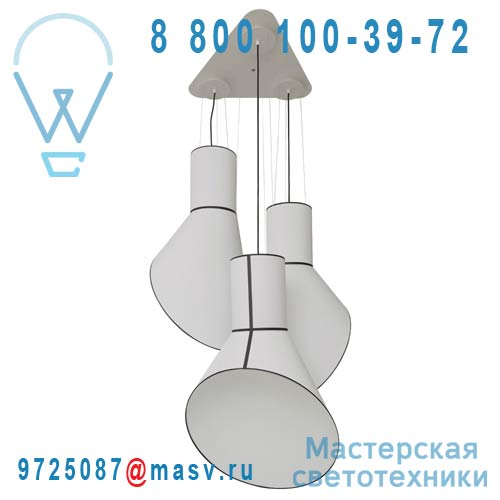 Lu3gccb Lustre 3 Lumieres Blanc/Blanc - GRAND CARGO DesignHeure