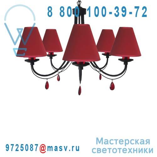0118349 Lustre 5 lumiere Noir/Rouge - FRAMBOISE Seynave