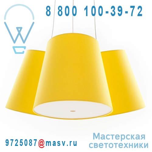 Cluster 3 shades jaune/jaune/jaune Suspension 3 Abat-jours Jaune - CLUSTER frauMaier