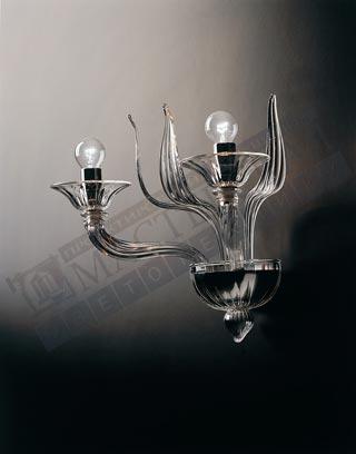 настенный светильник 7077 A2 хром-прозрачный, E14 2x42,De Majo
