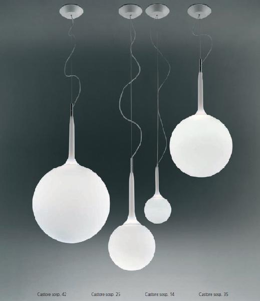 1053010A Artemide Decorative Castore подвес Castore Sospensione 25, белое стекло, выс 72-222см,
