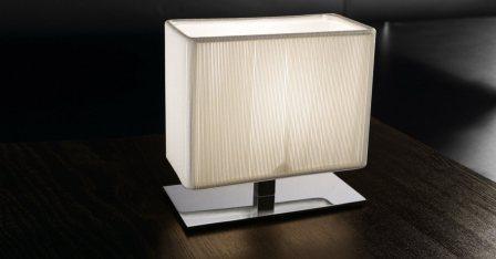 "AXOlight ""Clavius"" лампа настольная, белый шелк, высота 32см, плафон 12х40см, E14 2х60"