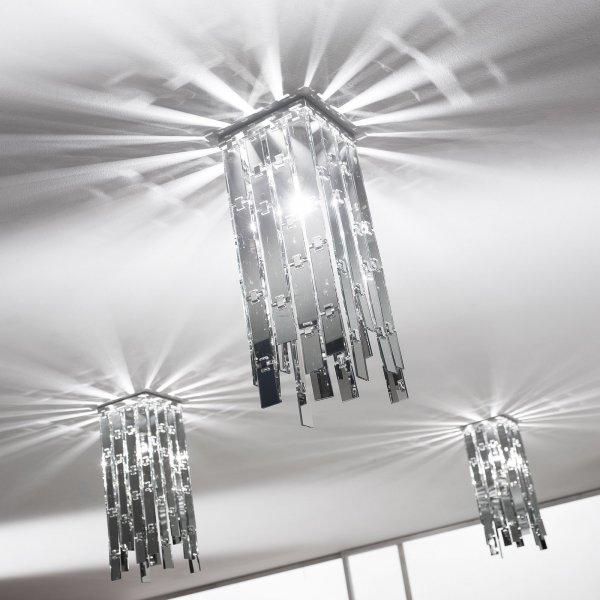 """AXOlight """"Glitter"""" светильник потолочный, зеркальное стекло, полированная сталь, 16смх16смх45см,"""