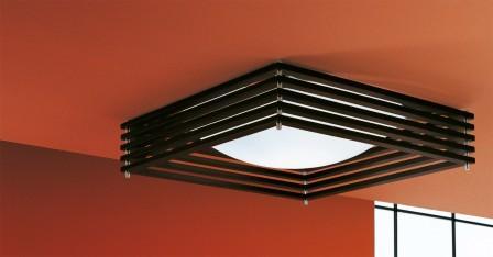"AXOlight ""Koshi"" светильник потолочный плафон 45х45 см, дерево венге, хром, R7s 1 x 15"