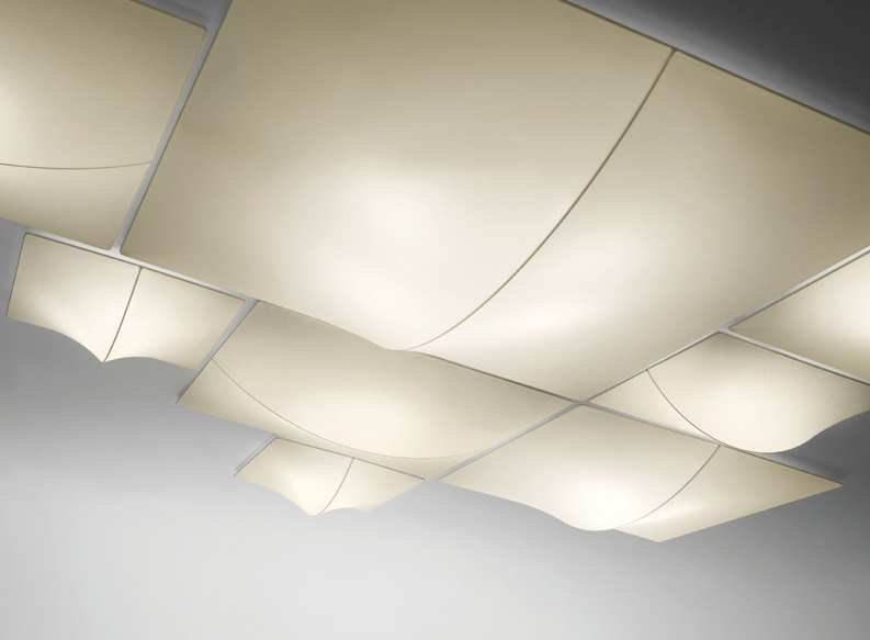 "AXOlight ""NELLY Straight"" светильник потолочный, белый абажур с узором из моющейся эластичной тк"