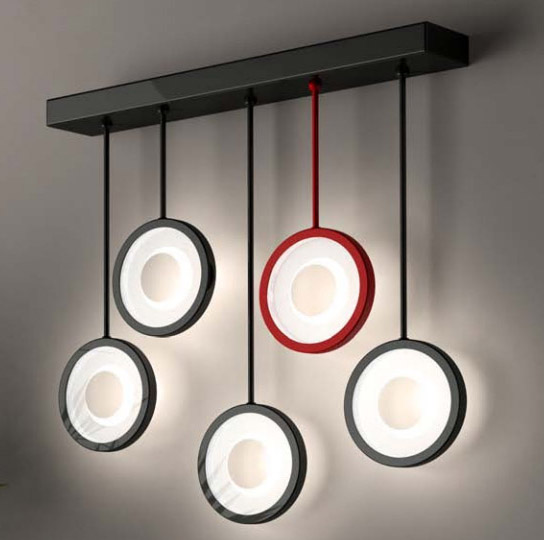 Светильник настенный Florian CIRCLE L5 WALL SPECIAL LAMP - 4 black/ 1 red, satin glass (F3.054)