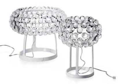 138012 16 Foscarini лампа настольная Caboche piccola, прозрачные шарики, D 31см, Н 20/38см, 1х48W G9, белый металл
