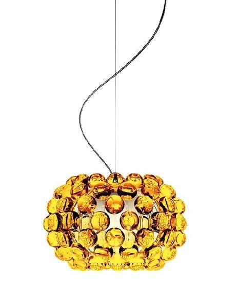 138027 52 Foscarini светильник подвесной Caboche Piccola D31см, H200 см, желто-золотой полиметил