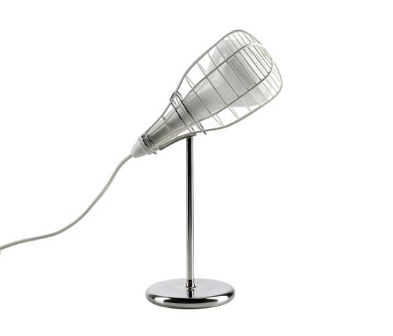 LI0213 10 E Foscarini Лампа настольная Cage Mic, D 15/26см, Н 44см, 1x33W G9, белый металл