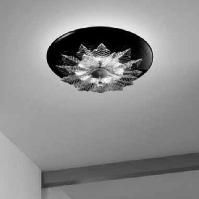 0202286013801 Leucos Modo светильник потолочный ORLEANS PL, черное стекло, диам 47,5см, выс 30см