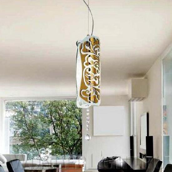 0203005050602 Leucos Modo светильник подвесной Charme S, белый/золото, d=12cm, h=150cm, 1x100W E
