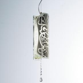 0203005053302 Leucos Modo светильник подвесной Charme S, белый/платина, d=12cm, h=150cm, 1x100W