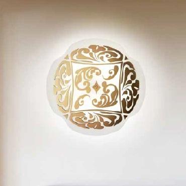 0204010360609 Leucos Modo светильник настенно-потолочный Charme P-PL 50, белый/золото, диам 50см