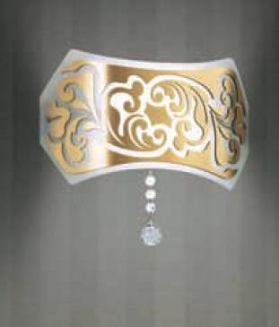 0205005360605 Leucos Modo Бра Charme P, белый/золото, диам 31см, 1х150WR7s 114mm, металл лакиров