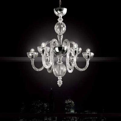 0209132013401 Leucos Modo Люстра Olandese L6, прозрачное стекло, диам 74 см, выс 74см, 6х60W E14