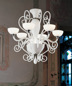 0209246013606 Leucos Modo люстра BOLERO L6, белое стекло, диам 69см, выс max 130см, 6х75W G9halo