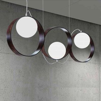 0303005213609 Leucos Studio подвес Giuko 3, белое мат стекло в кольце цвета эбенового дер, дл 10