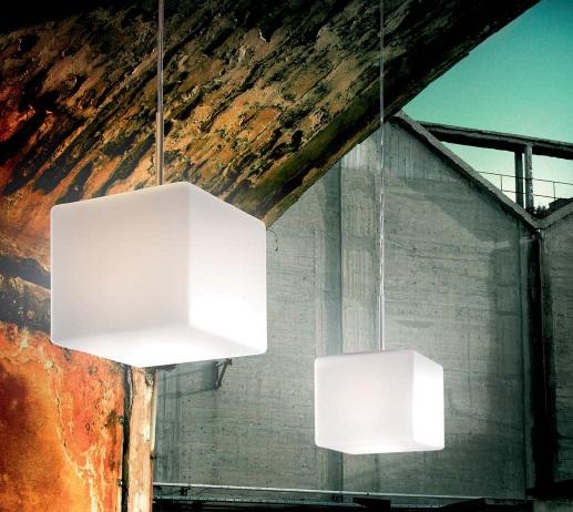 0303204373609 Leucos Studio подвес Cubi 11, мат белое стекло, 11х20 см, 1x75W G9 halopin, серебр