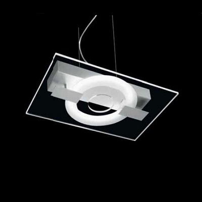 0303307373532 Leucos Studio подвес O-Sound 1, прозрачная панель, 45x29cm, 1x22W 2GX13 T5, лак ме