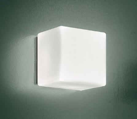 0304004373609 Leucos Studio бра/потолоч свет-ник Cubi 16, мат белое стекло, 16х16см, 1х60W G9, с