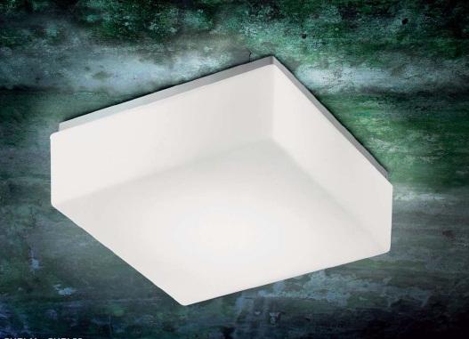 0304204373601 Leucos Studio бра/потолоч свет-ник Cubi 28, мат белое стекло, 28х28см, 4х60W E14/4