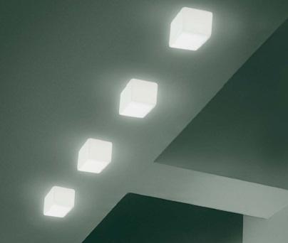 0304204373609 Leucos Studio бра/потолоч свет-ник Cubi 11, мат белое стекло, 11х11см, 1x40W G9, с