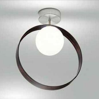 0304241213609 Leucos Studio бра/свет-ник потолочный Giuko 1, белое мат стекло в кольце из эбенов