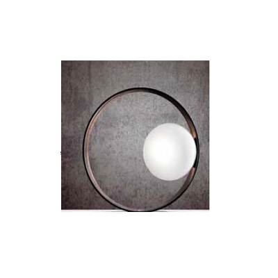 0306241213609 Leucos Studio лампа настольная Giuko 1, мат белое стекло в кольце из эбенового дер