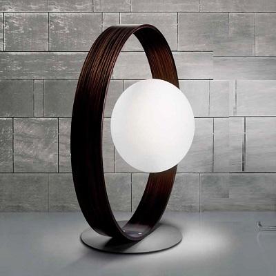 0308241213602 Leucos Studio торшер Giuko XXL, белое стекло в кольце цвета черного дерева, диам.9