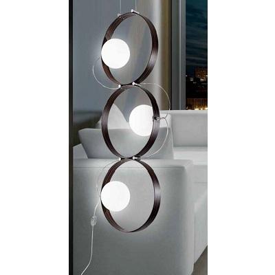 0310241213609 Leucos Studio лампа для чтения Giuko 3, белое стекло, черное дерево, выс 106,5см,