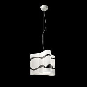 0403115365602 Leucos Studio Светильник подвесной Emi S, дутое стекло белого цвета с рисунком в в