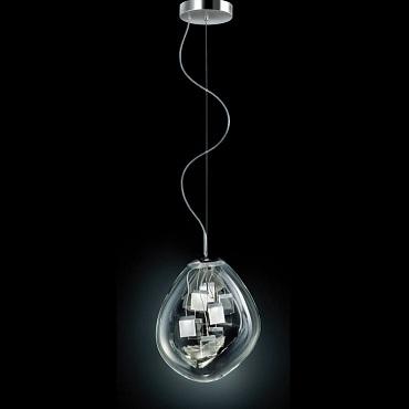 0403140013449 Leucos Idea светильник подвесной Spore S, хрусталь, 28х36х43см, Hмах180см, 8LEDх3W